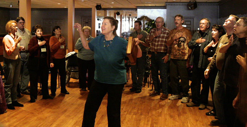 Lynn Miller leading a Vocal Warmup