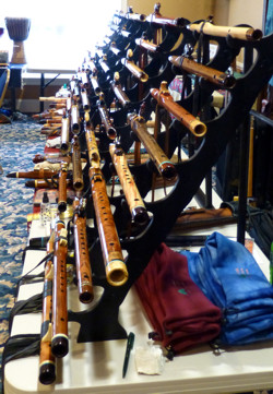 Rack of flutes at Flute Haven 2014