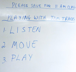 A whiteboard at Flute Haven 2012